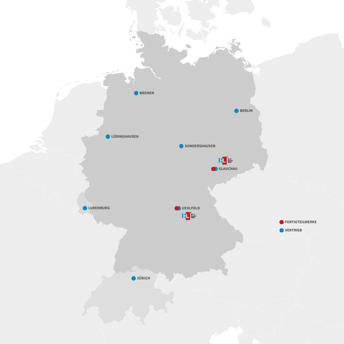 karte Vertriebsgebiete Deutschland, Luxemburg, Schweiz